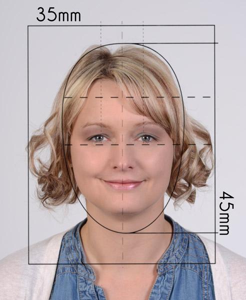 Biometriemaske für Passfoto zum überlagern um die passende Groeße festzustellen, Foto fuer Fuehrerschein und Reisepass haben eine Groeße von 35x45mm und duerfen nicht aelter als 6 Monate sein.